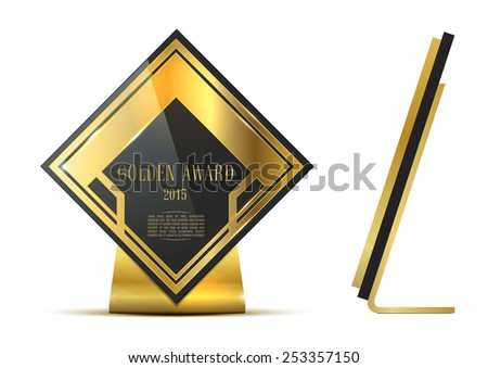 Golden first place award isolated on white background - stock vector