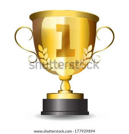 Golden first place trophy.gold cup award. isolated object on a white background. - stock vector