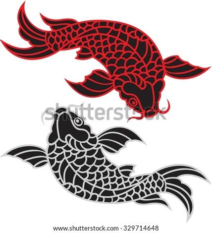golden fish yin yang concept - stock vector