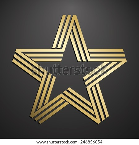 Golden five pointed star - stock vector