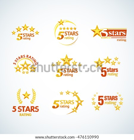 golden five stars round logo template stock vector