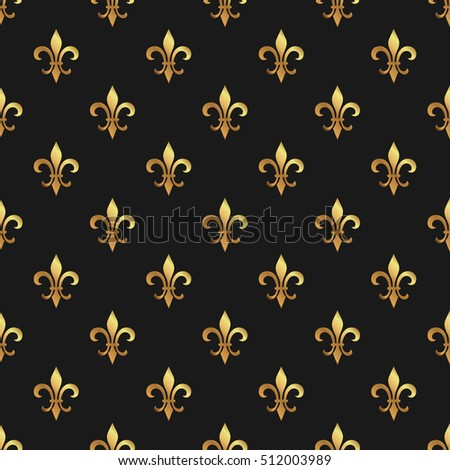 golden fleurdelis seamless pattern gold template stock