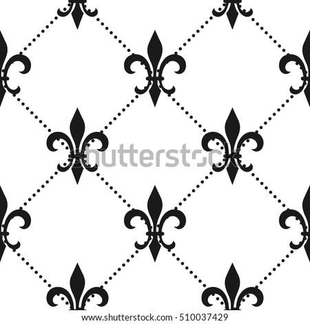 golden fleurdelis seamless pattern vector illustration stock vector