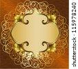 Golden floral frame - stock vector