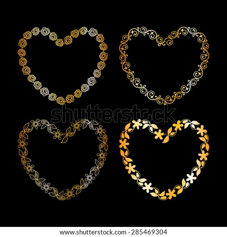 Golden floral frame in shape of heart - stock vector