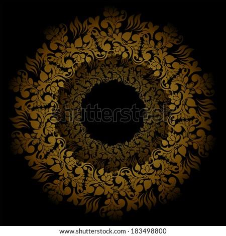 golden floral frame round. Vector - stock vector