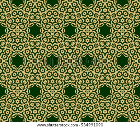 Golden floral geometric ornament on green background. Seamless vector illustration. For interior design, wallpaper