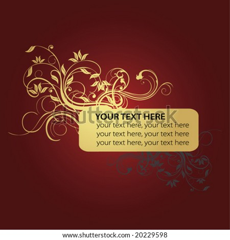 golden flower and text frame in red background - stock vector