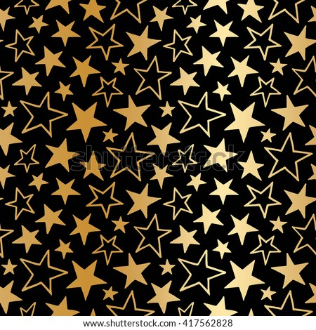 Golden foil stars of different size seamless vector pattern. Gold gradient doodle style stars. Cosmic, space background. Free hand drawn star shapes. Simple cosmical texture.
