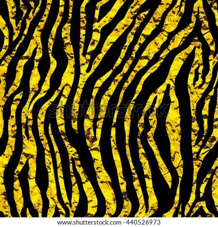 Golden foil tiger or zebra seamless pattern. Gold glitter texture of animal skin. Vector background illustration.