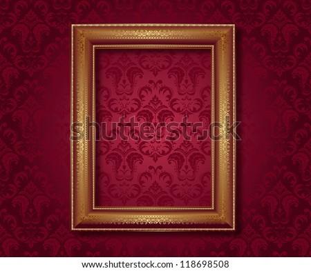 golden frame - stock vector