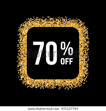 Golden Frame on Black Background with Text Seventy Percent Off - stock vector
