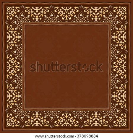Golden frame on brown background. Gold vector frame in Victorian style. Baroque ornate element and place for text. Golden ornamental pattern and traditional decor.