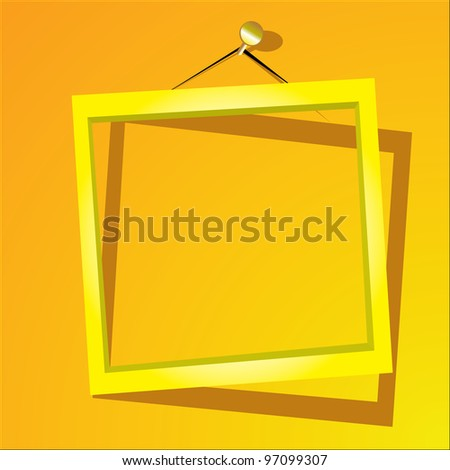 golden frame on the yellow wall. vector illustration. - stock vector