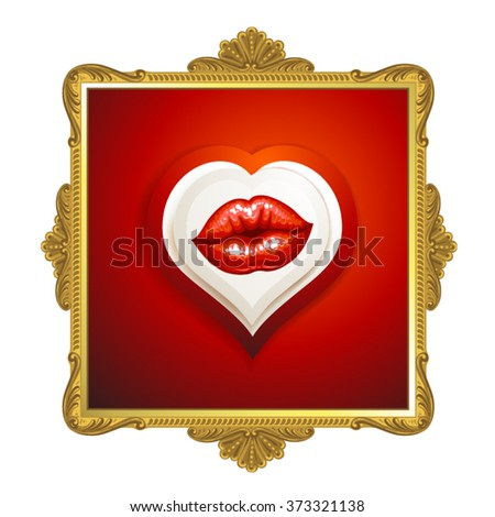 Golden frame with beautiful glossy female lips  - stock vector