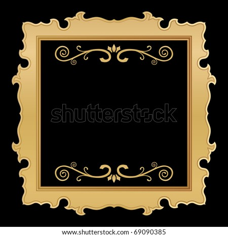 golden frame with floral background - stock vector