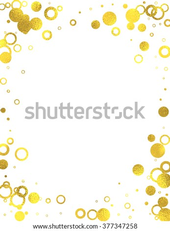 Golden frame with foil circles on white background, vector isolated design elements
