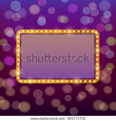 Golden frame with light bulbs on blurry fairy tale background. Vector design template