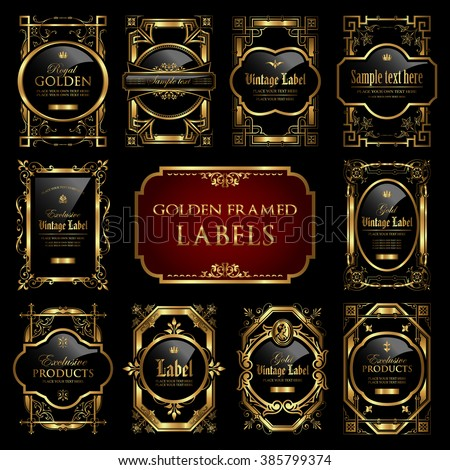 Golden framed labels - stock vector