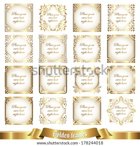 Golden frames - stock vector