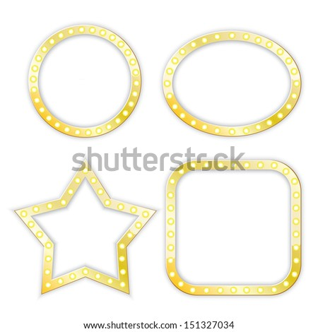golden frames of star, circle, ellipse, square. vector set. eps10 - stock vector