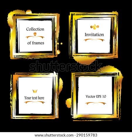 Golden Frames Set Gold Square Borders Stock Vector 290159783 ...
