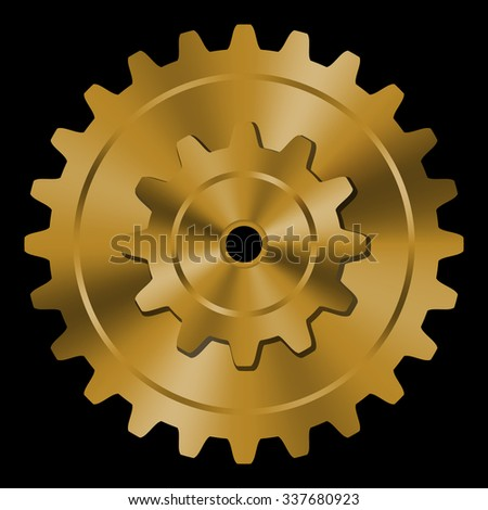 Golden gear on black background.