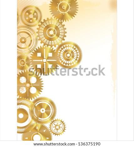 Golden gears background - stock vector