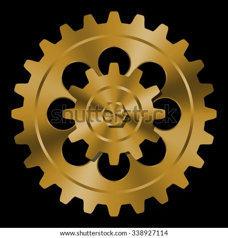 Golden gears on black background.