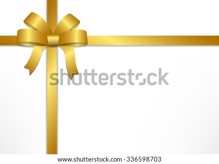 Golden gift bows and ribbons on white gift box background , vector illustration