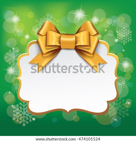 Golden gift bows. Gift card with gold ribbon and satin gold bow. Vector for greeting card, bows, new year, gift. on Greenbackground.
