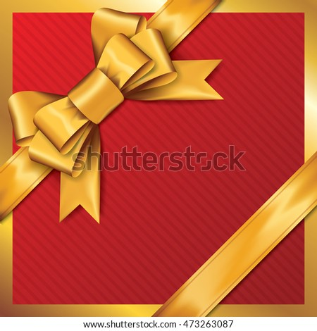Golden gift bows with ribbons On Red Background. Golden Bow. Vector Illustration.