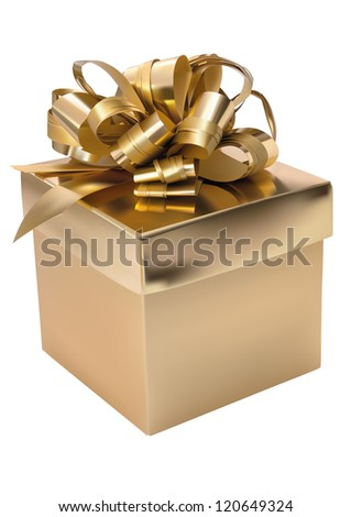 Golden gift box over white background - stock vector