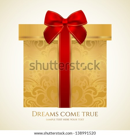 Golden gift box with floral pattern and red bow (ribbon). Vector celebration symbol (present) for (St' Valentin day, Mother's day, Christmas and other holidays). Background design for greeting card