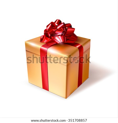 Golden gift box with red ribbon. Vector illustration.
