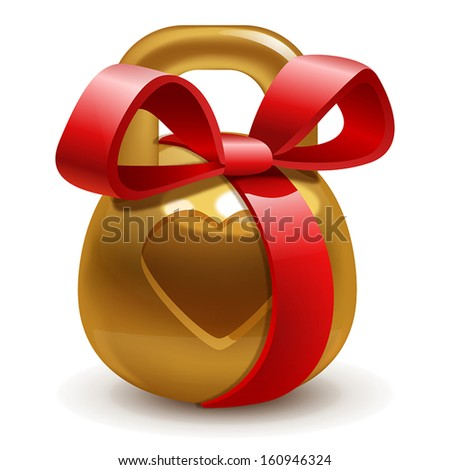 golden gift kettlebell with a bow on a white background - stock vector