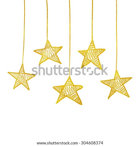 Golden Glitter Thread Stars Hanging From Above. Embroidered Magical Shiny Constellation. Simple and glamorous greeting card. Birthday Party Invitation. Isolated objects on white background. - stock vector