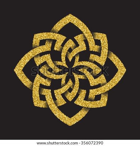 Golden glittering logo template in Celtic knots style on black background. Octagonal symbol. Gold ornament for jewelry design. - stock vector
