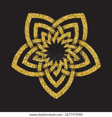 Golden glittering logo template in Celtic knots style on black background. Tribal symbol in pentagonal flower maze form. Gold ornament for jewelry design. - stock vector