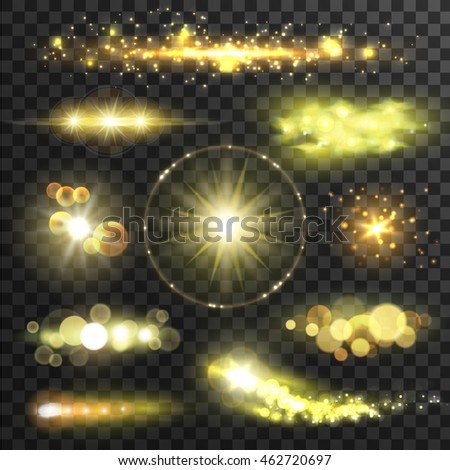 Golden glittering stars. Sparkling sun light flashes with lens flare effect on transparent background. Vector shining gold bokeh elements