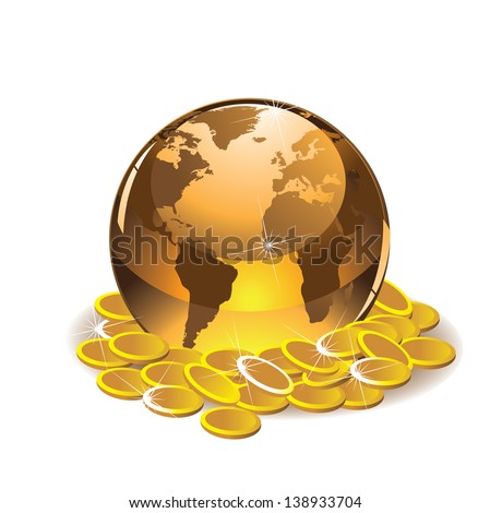 Golden globe with coins. EPS 10 vector, grouped for easy editing. No open shapes or paths. Portions of this image supplied by NASA. - stock vector