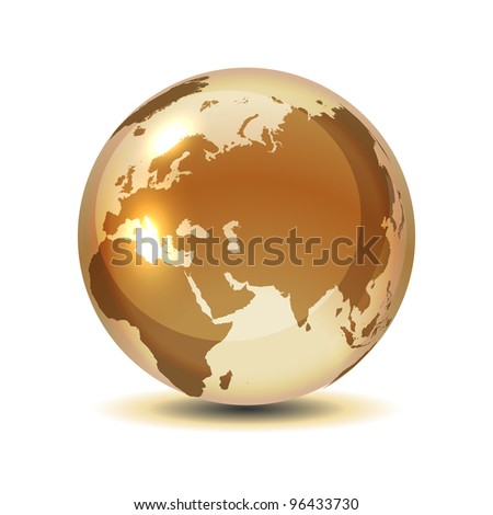 Golden globe with shadow on white, vector illustration, eps 10, 9 layers, easy editable. - stock vector
