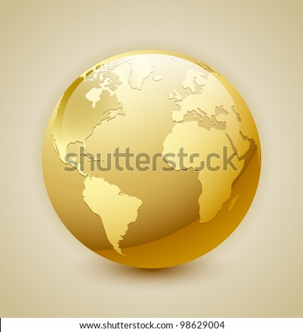 Golden glossy Earth icon isolated on background - stock vector