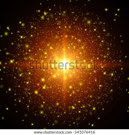 Golden Glowing Lights Effects Isolated On Black Background Sun Flash With Rays And Spotlight