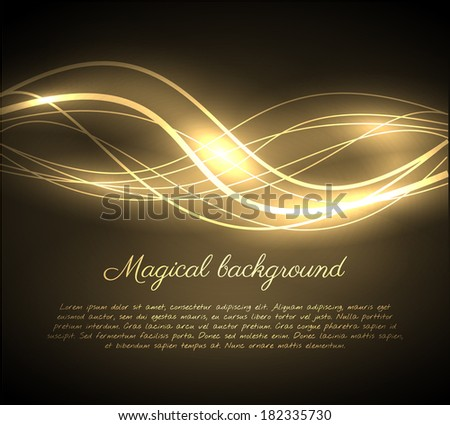 Golden glowing wave background. Vector eps10. - stock vector