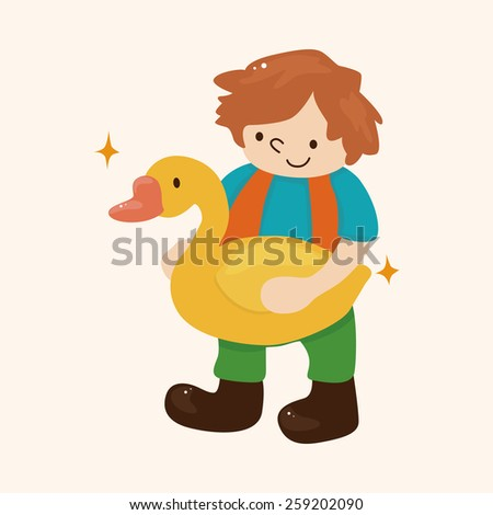 Golden Goose with little boy theme elements - stock vector