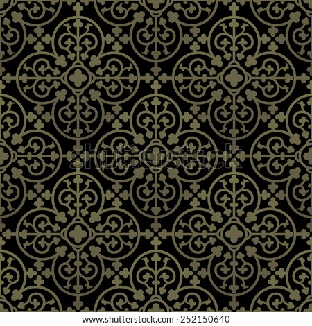 Golden gothic seamless pattern. Geometrical royal elements in a medieval style. Ornament for a tiles and mosaics. Vector illustration  - stock vector