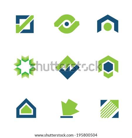 Golden green business success stock story market progress logo icon - stock vector