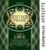 Golden Green Vintage Background - stock vector