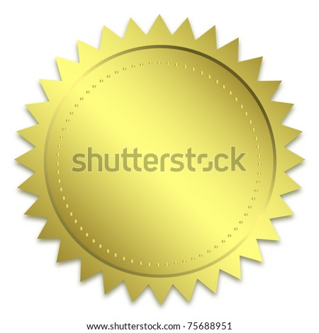 Golden guarantee seal - stock vector
